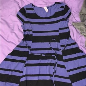 purple and black stripped justice dress